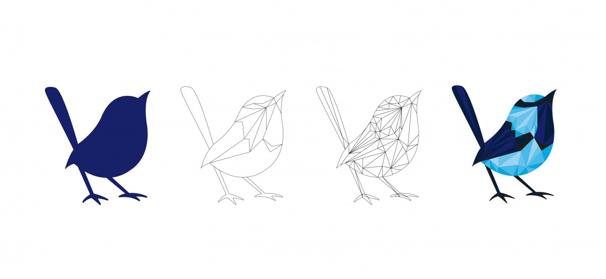 The wireframe of the blue wren turning into the polywren
