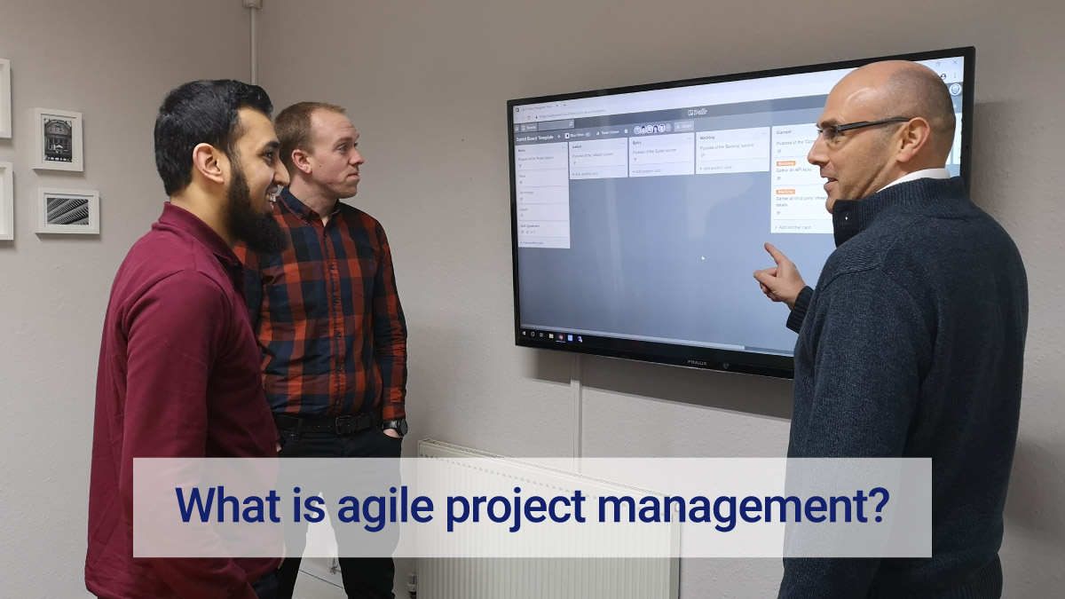 Zaeem, Siôn and Dean having a Scrum using Trello, a project management application