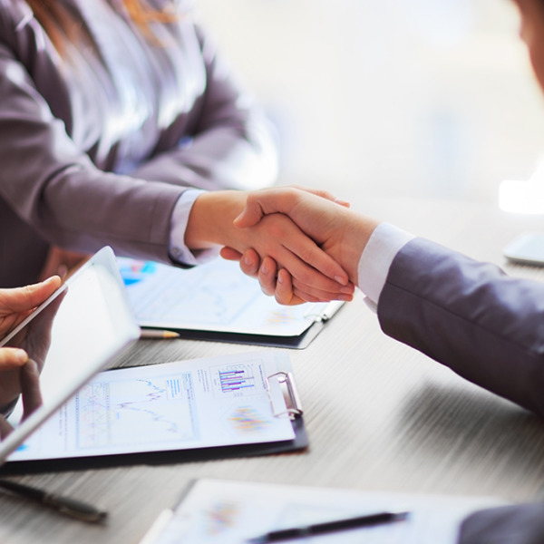 Businessman and woman shaking hands during a meeting